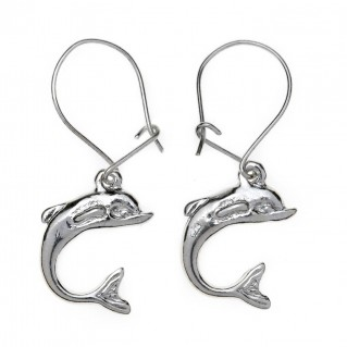Dolphins ~ Sterling Silver Earrings with Hook