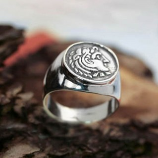 Alexander the Great ~ Sterling silver chevalier coin ring