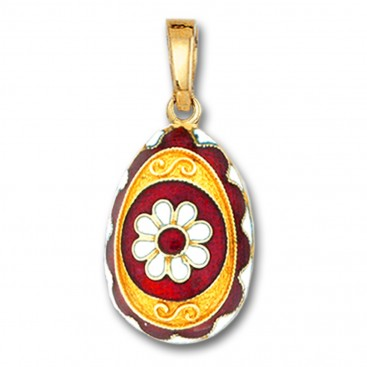 Egg pendant with Rosette flower ~ 14K Solid Gold and Hot Enamel - A/Large