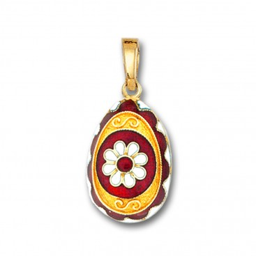 Egg pendant with Rosette flower ~ 14K Solid Gold and Hot Enamel - A/Medium