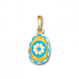 Egg pendant with Rosette flower ~ 14K Solid Gold and Hot Enamel - A/Small