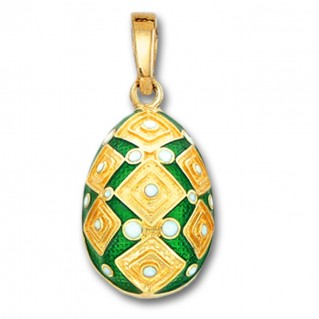 Square Motifs Egg pendant ~ 14K Solid Gold and Hot Enamel - A/Large