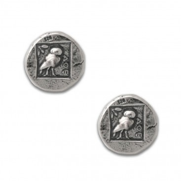 Athena & Owl - Ancient Greek Silver Coin Post Earrings