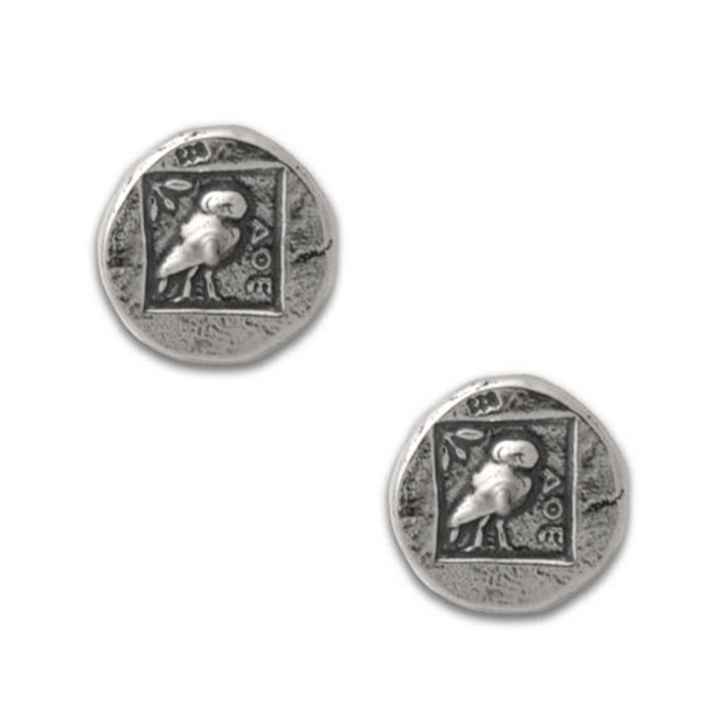 Goddess Athena Amp Owl Stud Earrings Sterling Silver