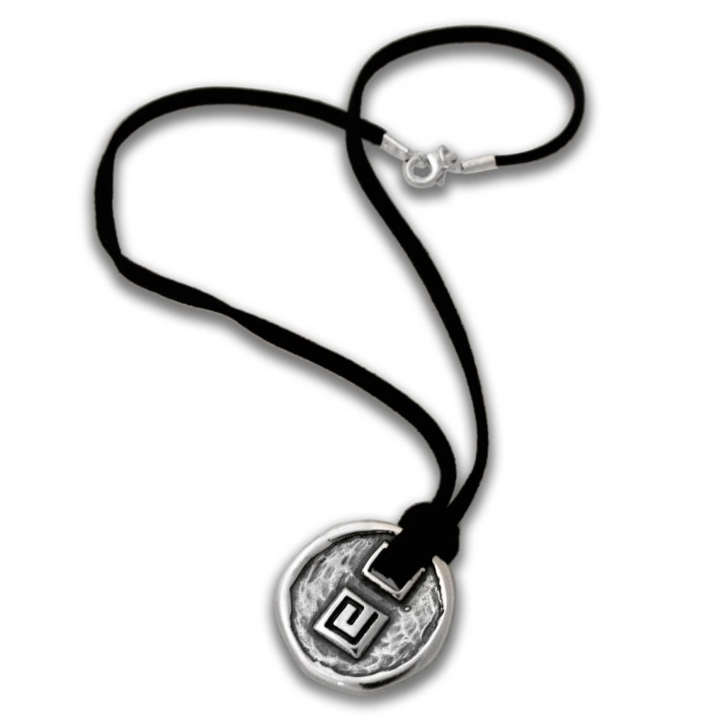 Meander Greek Key Sterling Silver Pendant With Leather Choker