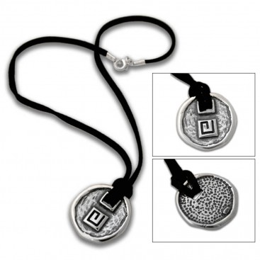Meander-Greek Key ~ Sterling Silver Pendant with Leather Choker