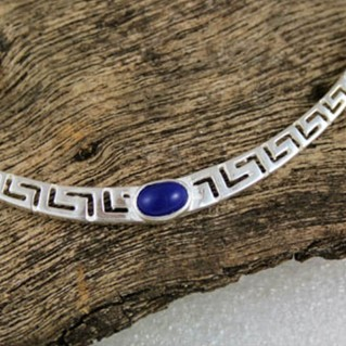 Meander-Greek Key ~ Sterling Silver Necklace with Lapis Lazuli