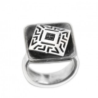 Meander-Greek Key ~ Sterling silver 2-Tone Ring