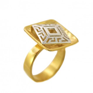 Meander-Greek Key ~ Sterling Silver 24K/ Gold Plated 2-Tone Ring
