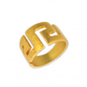Meander-Greek Key ~ Sterling silver/24K Gold Plated Ring