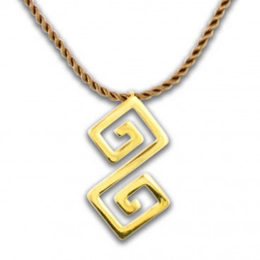 Double Meander-Greek Key ~ Sterling Silver 24K/ Gold Plated Pendant with Choker