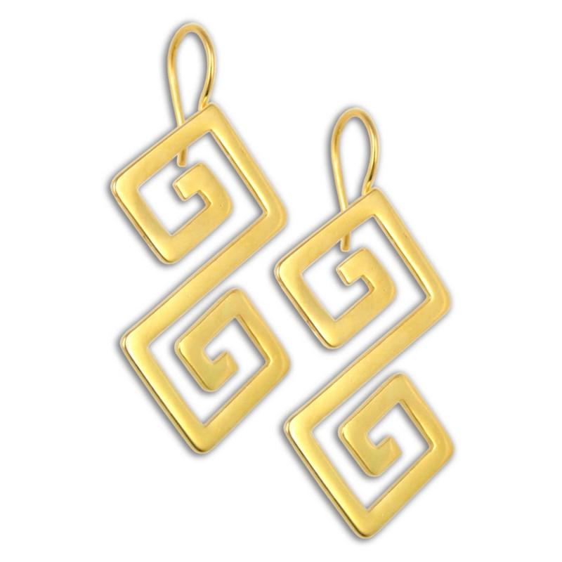 Greek Key Meander Sterling Silver 24k Gold Plated Drop Earrings