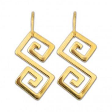 Greek Key Meander ~ Sterling Silver 24K/ Gold Plated Drop Earrings