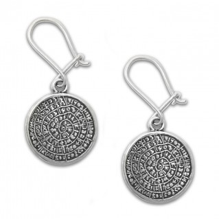 Minoan Phaistos Disk ~ Sterling Silver Pierced Earrings