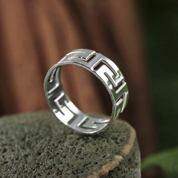 Meander-Greek Key ~ Men's Sterling silver Ring