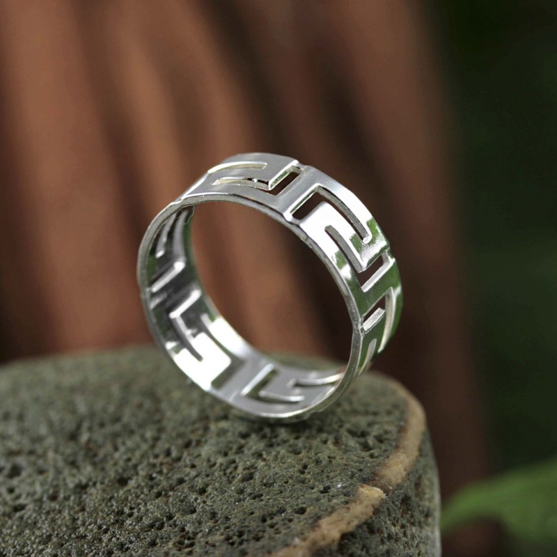 Meander Greek Key Men S Sterling Silver Ring Greek Jewelry