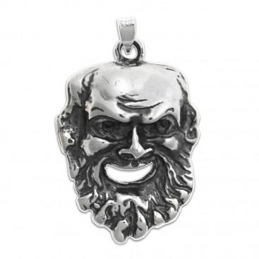 Dionysus-Bacchus Mask ~ Silver Pendant