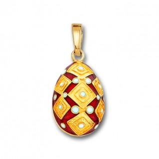 Square Motifs Egg pendant ~ 14K Solid Gold and Hot Enamel - A/Medium