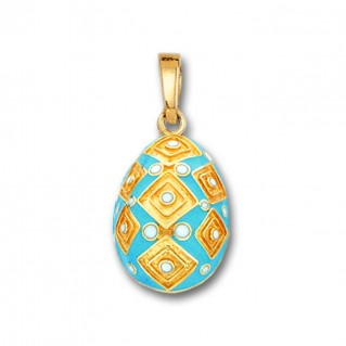 Square Motifs Egg pendant ~ 14K Solid Gold and Hot Enamel - A/Medium