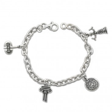 Sterling Silver Chain Bracelet - With 4 Greek Charms