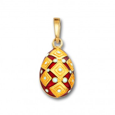 Square Motifs Egg pendant ~ 14K Solid Gold and Hot Enamel - A/Small