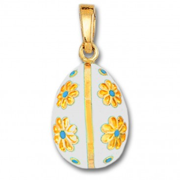 Egg Pendant with Flowers ~ 14K Solid Gold and Hot Enamel - B/Large