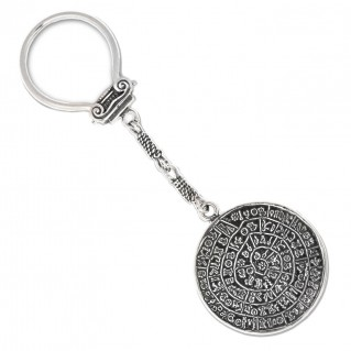 Minoan Phaistos Disk ~ Sterling Silver Key Ring-Key Chain