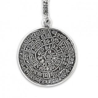 Minoan Phaistos Disk ~ Sterling Silver Key Ring-Key Chain