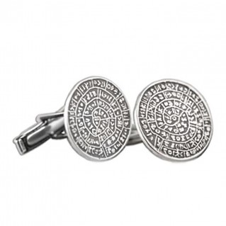 Minoan Phaistos Disk ~ Sterling Silver Cufflinks
