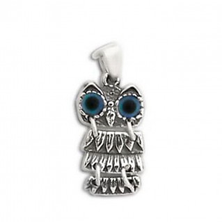 Goddess Athena's Wise Little Owl ~ Sterling Silver Pendant-Charm - DS