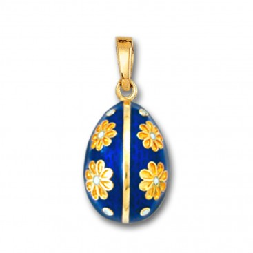 Egg Pendant with Flowers ~ 14K Solid Gold and Hot Enamel - B/Medium