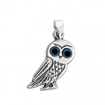 Goddess Athena's Wise Little Owl ~ Sterling Silver Pendant - E