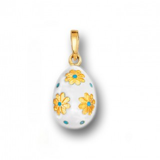 Egg Pendant with Flowers ~ 14K Solid Gold and Hot Enamel - A/S White
