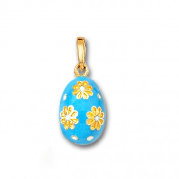 Egg Pendant with Flowers ~ 14K Solid Gold and Hot Enamel - A/S Turquoise