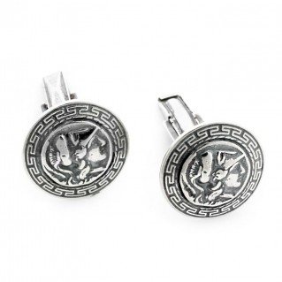 Goddess Athena & Meander ~ Sterling Silver Cufflinks