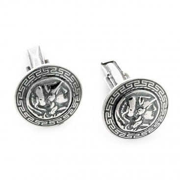 Goddess Athena & Meander ~ Sterling Silver Cufflinks