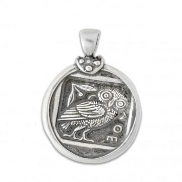 Athena & Owl Tetradrachm - Silver Coin Pendant -L