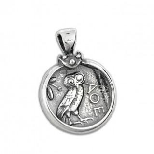 Athena & Owl Tetradrachm - Silver Coin Pendant -M