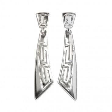 Meander-Greek Key ~ Sterling Silver Pierced Earrings