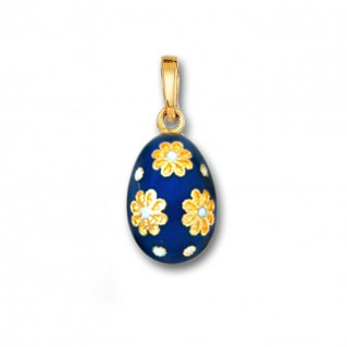 Egg Pendant with Flowers ~ 14K Solid Gold and Hot Enamel - A/S Blue