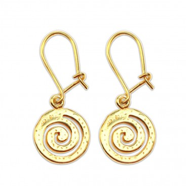 Spiral ~ Sterling Silver 24K/ Gold Plated Pierced Earrings