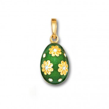Egg Pendant with Flowers ~ 14K Solid Gold and Hot Enamel - A/S Green