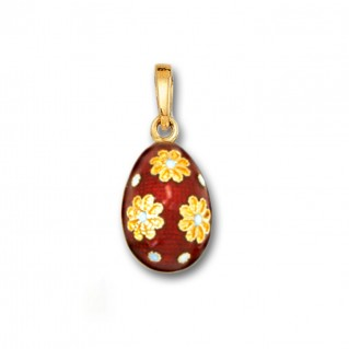Egg Pendant with Flowers ~ 14K Solid Gold and Hot Enamel - A/S Red