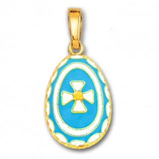 Egg Pendant with Cross ~ 14K Solid Gold and Hot Enamel ~ A/Large