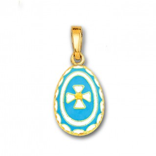 Egg Pendant with Cross ~ 14K Solid Gold and Hot Enamel ~ A/Medium