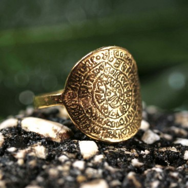 Minoan Phaistos Disk - Silver 24K/ Gold Plated Ring