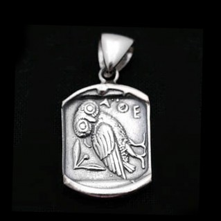 Goddess Athena's Wise Little Owl ~ Sterling Silver Pendant
