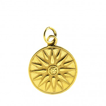 Macedonian Vergina Sun ~ Sterling Silver 24K/ Gold Plated Pendant