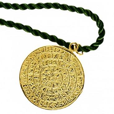 Minoan Phaistos Disk ~ Silver/24K Gold Plated Pendant - XL
