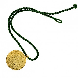 Minoan Phaistos Disk ~ Silver/24K Gold Plated Pendant - XL